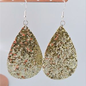 Gold Sequin Vegan Leather Double Sided Earrin